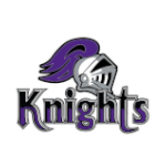 A knight helm sits atop the word knights.